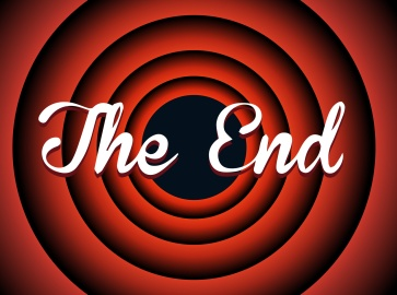 The end typography. Old movie screen